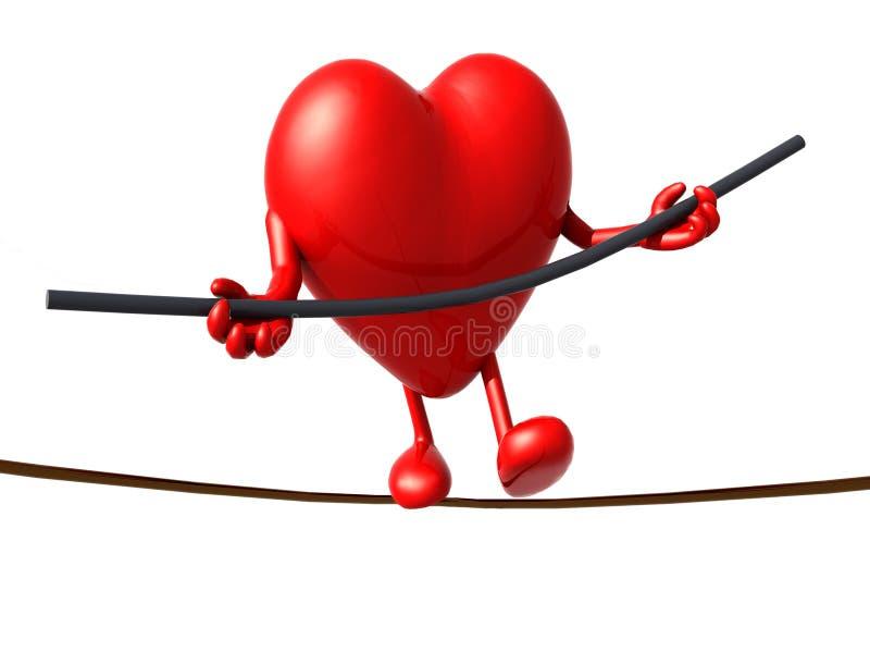 Acróbata del corazón que camina en un alambre ilustración del vector