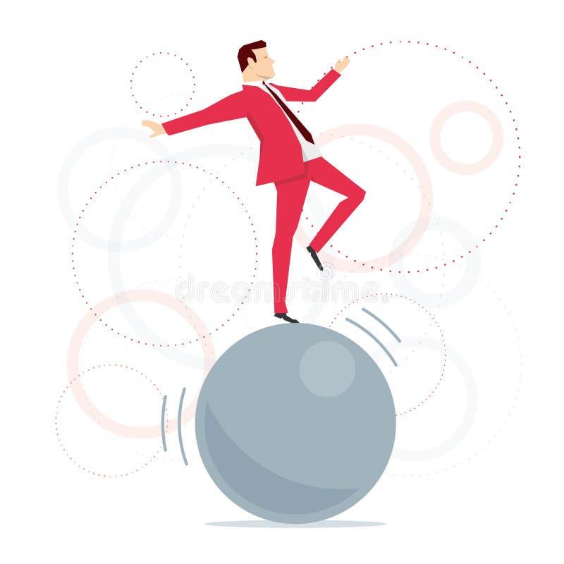 Acróbata rojo del hombre de negocios del traje ilustración del vector