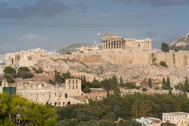 Acrópole ateniense do monte dos philopappos fotografia de stock royalty free