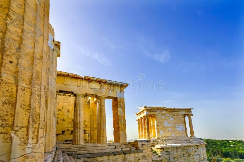 Acrópole A de Athena Nike Propylaea Ancient Entrance Ruins do templo fotos de stock royalty free