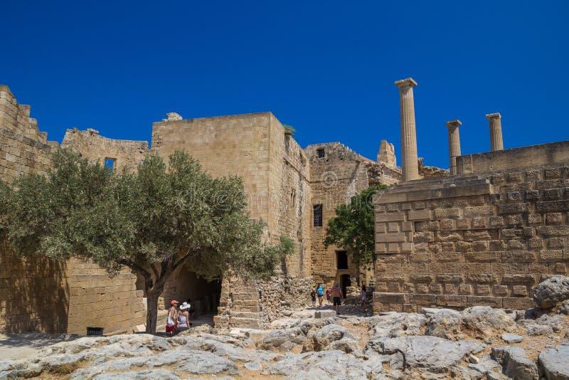 Acrópole do local arqueológico de Lindos em Rhodes Island Greece imagens de stock