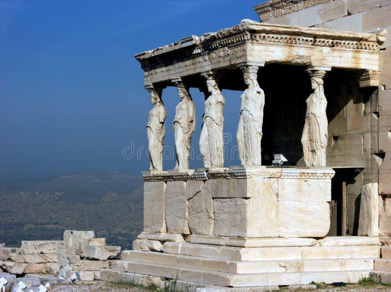Acrópole do templo de Erechtheion em Atenas com Caryatides, Grécia imagem de stock