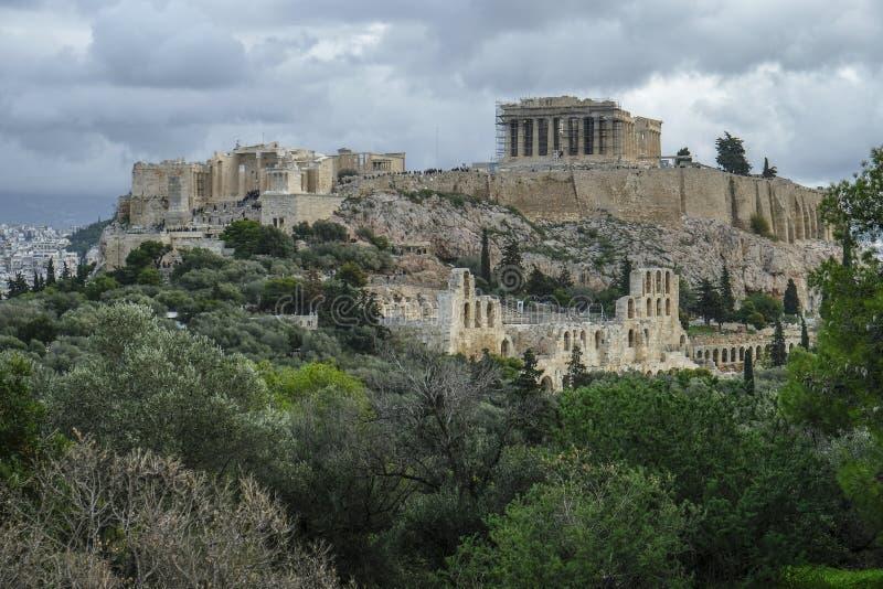 A acrópole em Atenas, Grécia fotos de stock