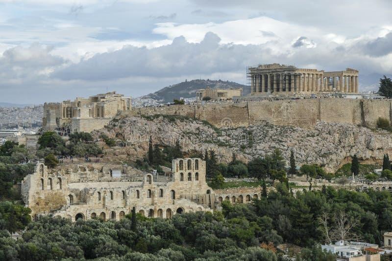 A acrópole em Atenas, Grécia fotografia de stock royalty free
