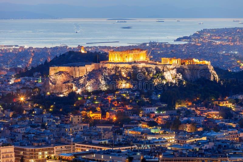 Acrópolis ateniense en Grecia fotos de archivo