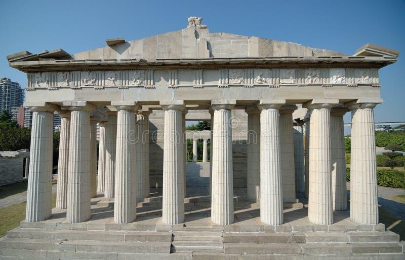 Acrópolis de Athen en la ventana del parque del mundo fotos de archivo