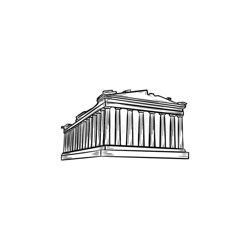 Acrópolis en icono dibujado mano del garabato del esquema de Atenas stock de ilustración