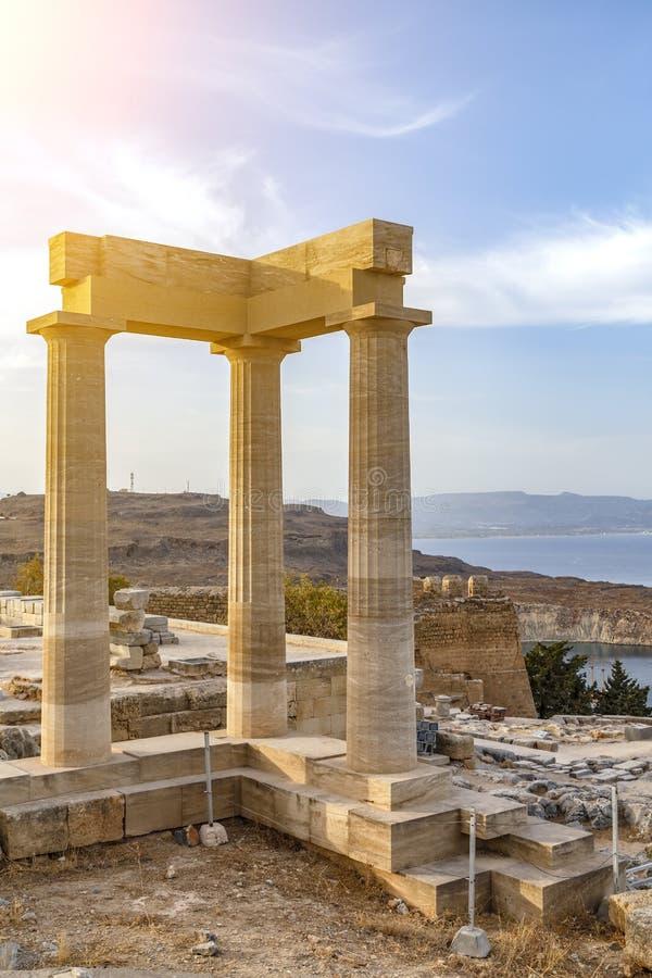 Acrópolis Lindos, diosa Linda, isla del templo de Rodas en Grecia imágenes de archivo libres de regalías