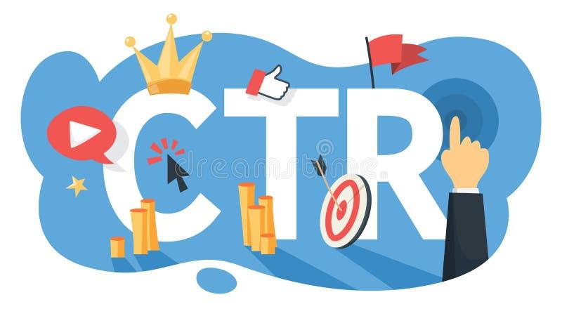 Acrônimo do CTR para o clique com a taxa Campanha do Internet ilustração do vetor