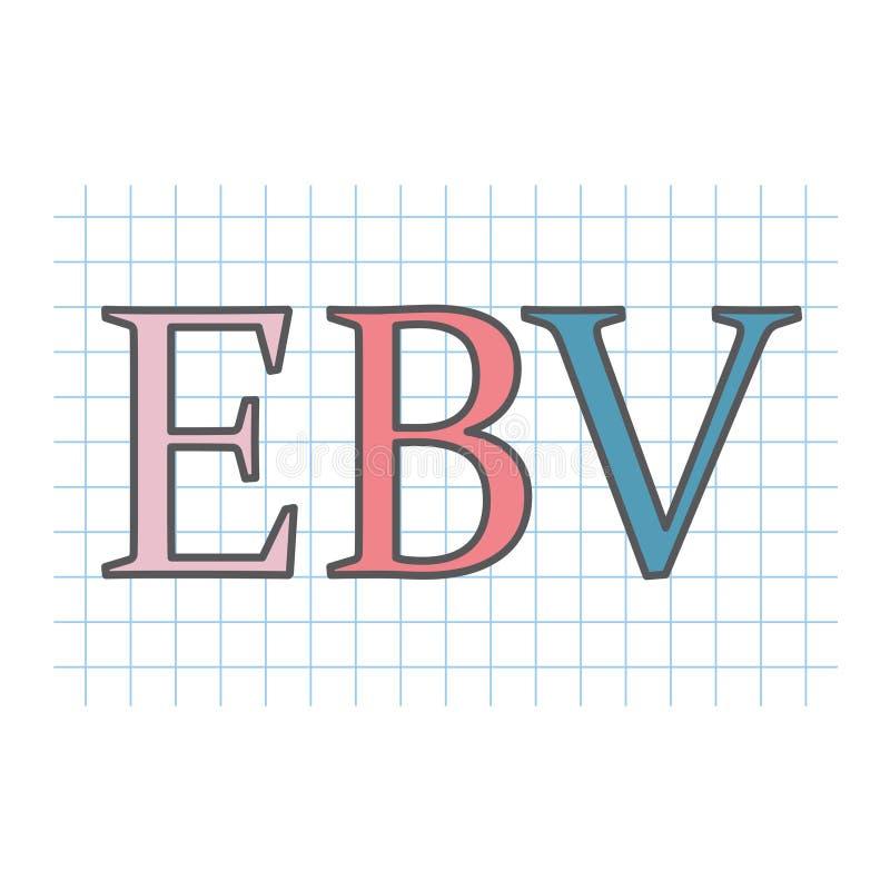 """Acrônimo do vírus de EBV Epstein†""""Barr escrito na folha de papel quadriculado ilustração do vetor"""