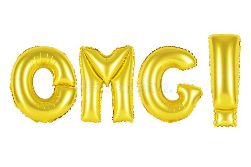 Acrônimo e abreviatura, omg, cor do ouro fotografia de stock