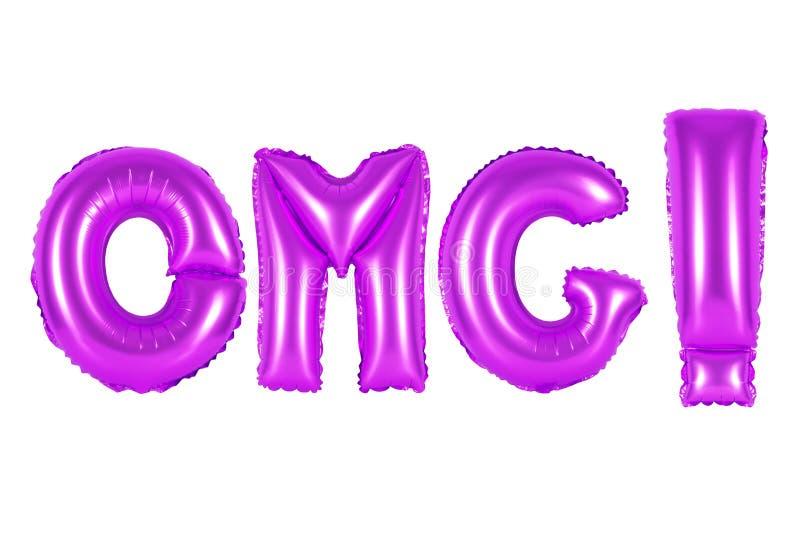 Acrônimo e abreviatura, omg, cor roxa fotos de stock