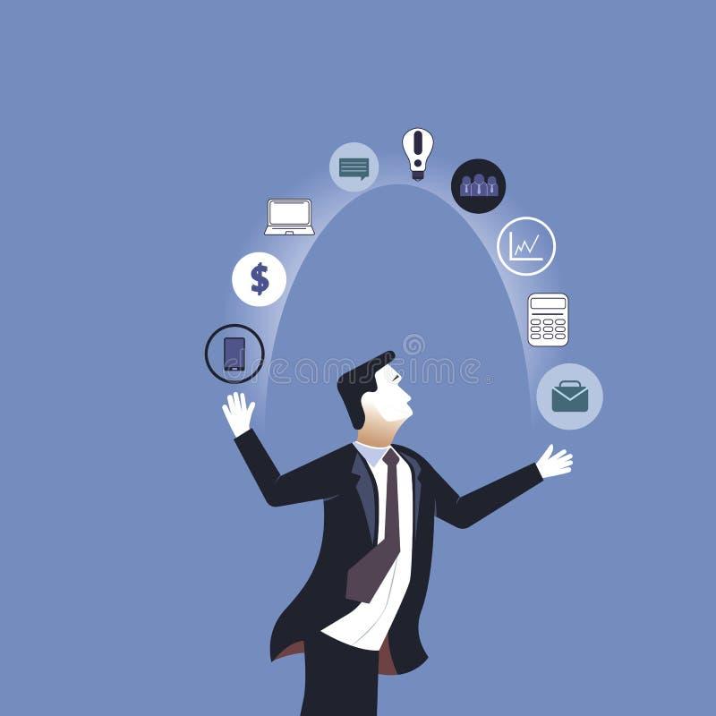 acr?bata Iconos del negocio del hombre de negocios que hacen juegos malabares Ejemplo del vector del negocio del concepto libre illustration