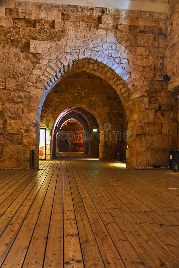 Acre Israel dos salões dos cavaleiros Os 12o-13os cruzados fortaleza e matrizes principais, salões e estruturas no norte imagem de stock royalty free