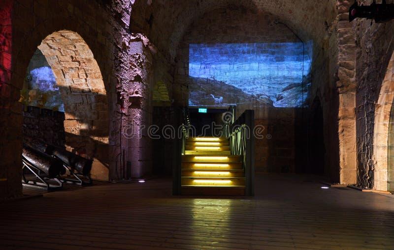 Acre Israel dos salões dos cavaleiros Os 12o-13os cruzados fortaleza e matrizes principais, salões e estruturas no norte imagens de stock