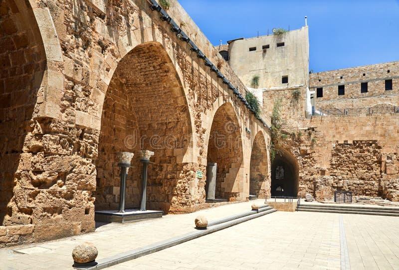 Acre Israel dos salões dos cavaleiros Os 12o-13os cruzados fortaleza e matrizes principais, salões e estruturas no norte fotografia de stock