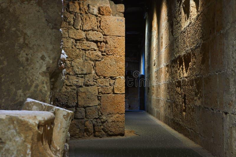 Acre Israel dos salões dos cavaleiros Os 12o-13os cruzados fortaleza e matrizes principais, salões e estruturas no norte foto de stock
