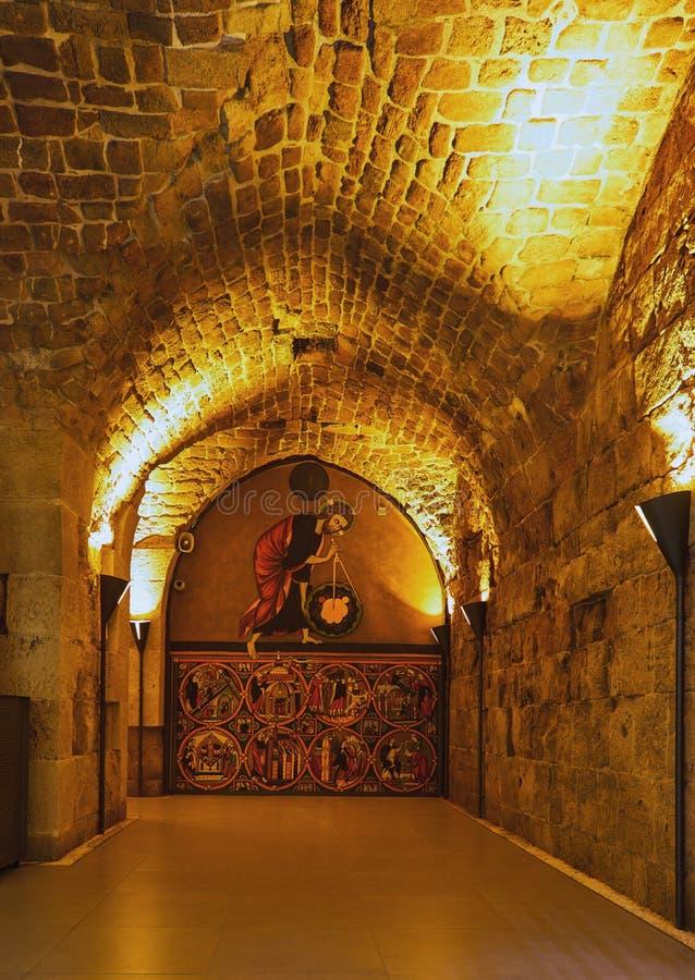 Acre Israel dos salões dos cavaleiros Os 12o-13os cruzados fortaleza e matrizes principais, salões e estruturas no norte fotos de stock