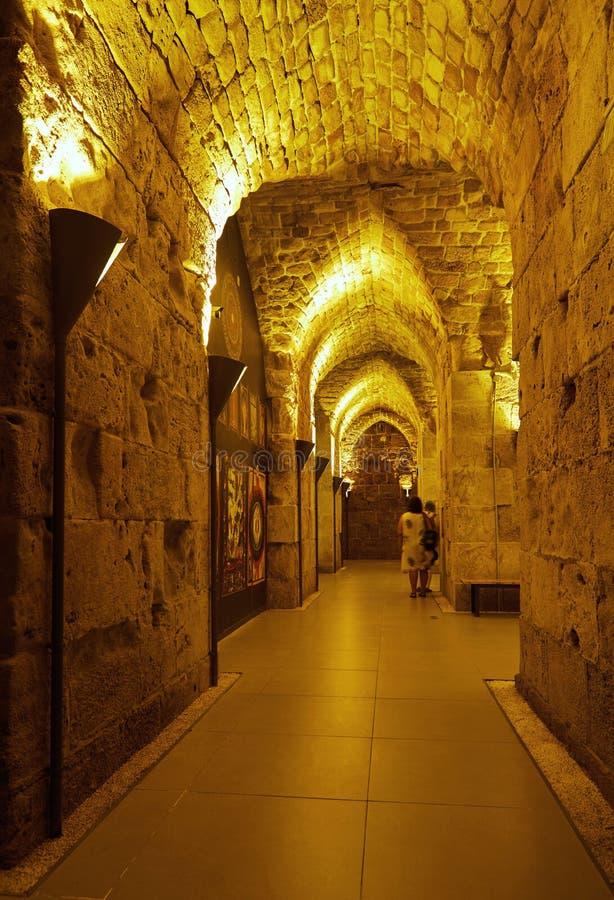 Acre Israel dos salões dos cavaleiros Os 12o-13os cruzados fortaleza e matrizes principais, salões e estruturas no norte fotografia de stock royalty free