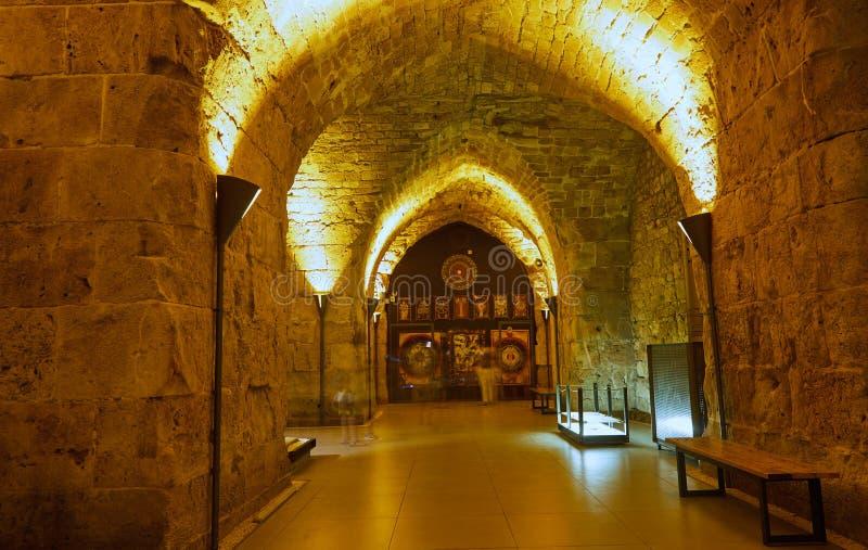 Acre Israel dos salões dos cavaleiros Os 12o-13os cruzados fortaleza e matrizes principais, salões e estruturas no norte imagens de stock royalty free