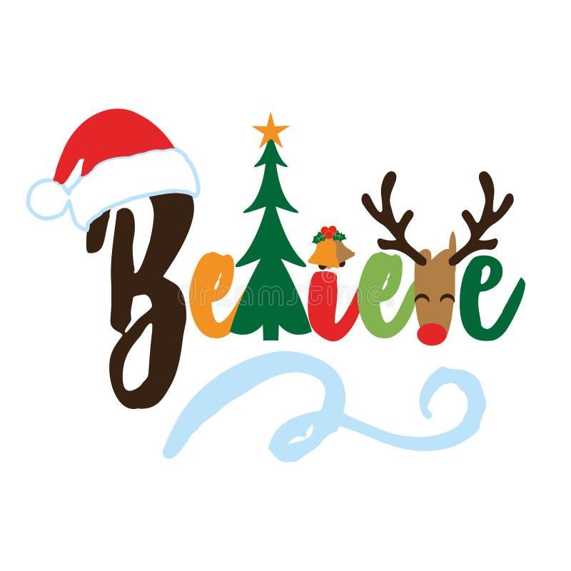 Acredite - a frase da caligrafia para o Natal ilustração stock