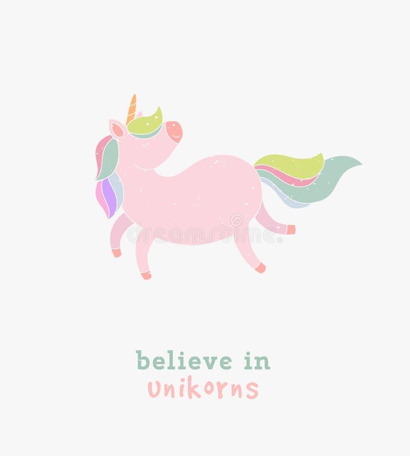 Acredite no cartão da tipografia do unicórnio Unicórnio de passeio da ilustração engraçada do vetor com cauda iridescente ilustração stock