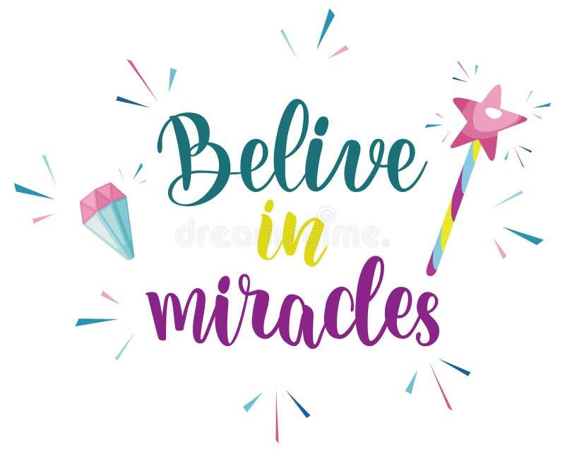 Acredite no projeto do slogan dos milagre ilustração royalty free