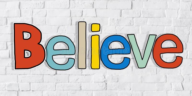 Acredite a palavra e a parede de tijolo no fundo ilustração do vetor