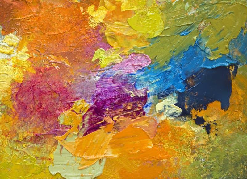 Acrilico e colpi variopinti luminosi della pittura ad olio illustrazione di stock