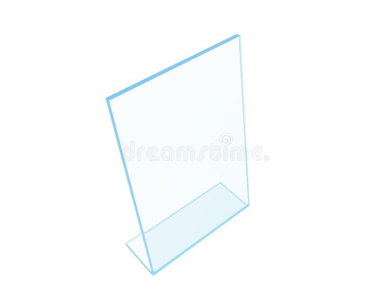 Acrilico trasparente o esposizione di plastica del supporto della tavola su fondo bianco rappresentazione 3d royalty illustrazione gratis