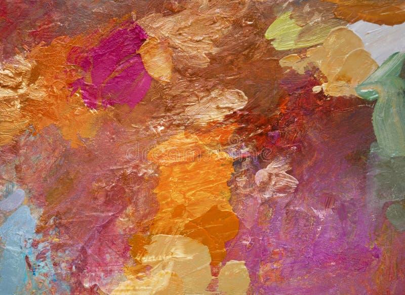 Acrilico variopinto e colpi della pittura ad olio illustrazione di stock