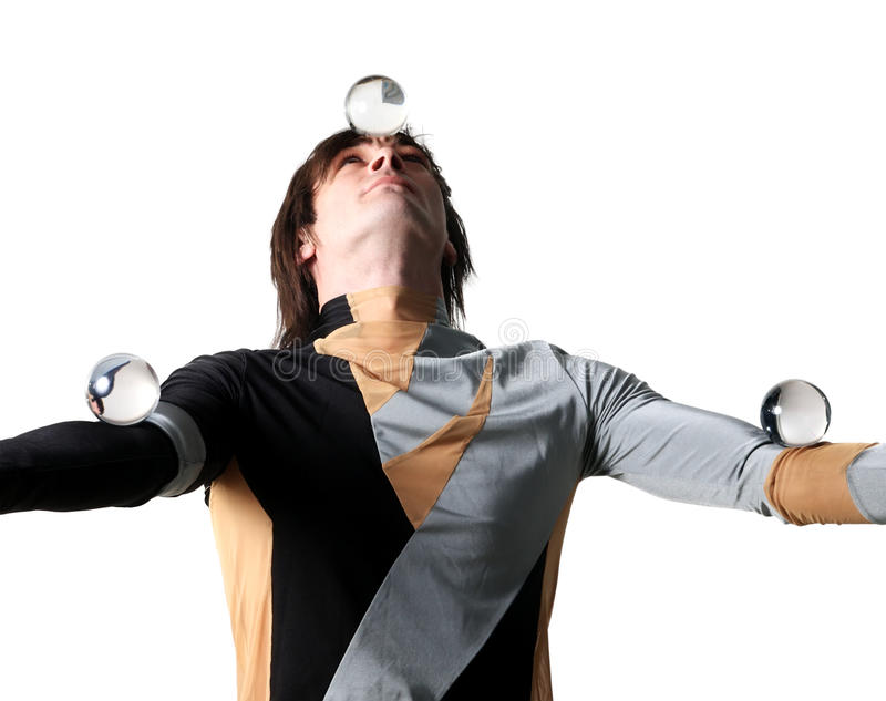 Acrobat With A Glass Marble Royalty Free Stock Images
