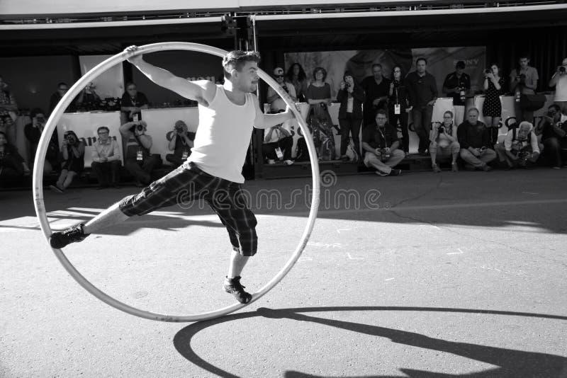 Acrobat hoop show stock photos
