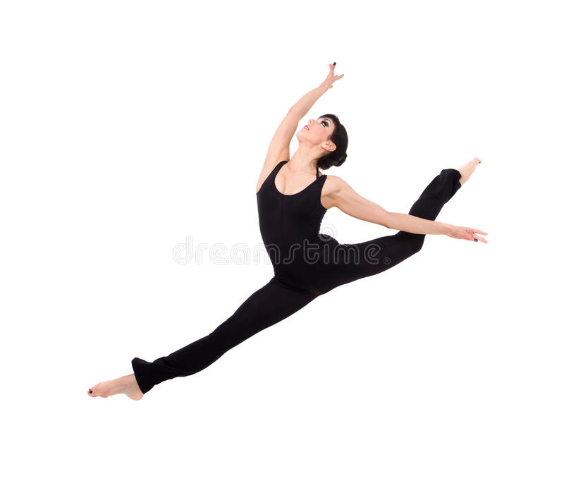 Acrobat makes splits jumping stock images