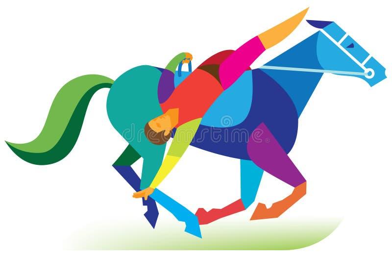 A acrobata de circo executa uma equitação complicada do truque ilustração royalty free