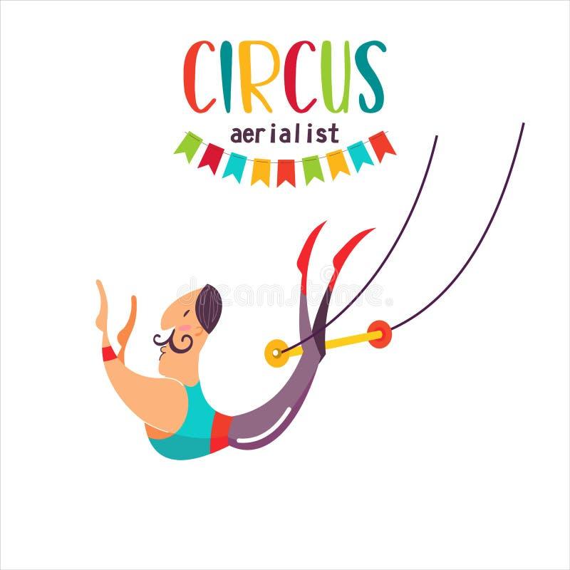 Acrobata di Aerial dell'artista del circo sotto la cupola del circo Illustrazione di vettore royalty illustrazione gratis
