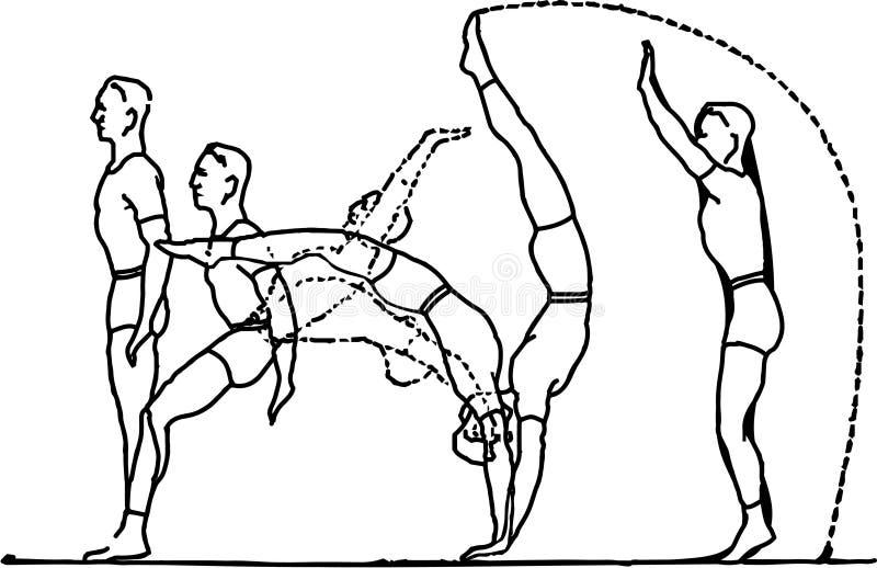 A acrobata executa uma s?rie de exerc?cios para conseguir a vit?ria ilustração stock
