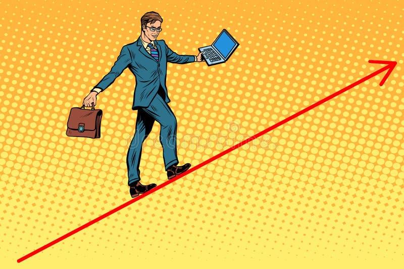 Acrobate d'homme d'affaires marchant les graphiques de fil illustration stock