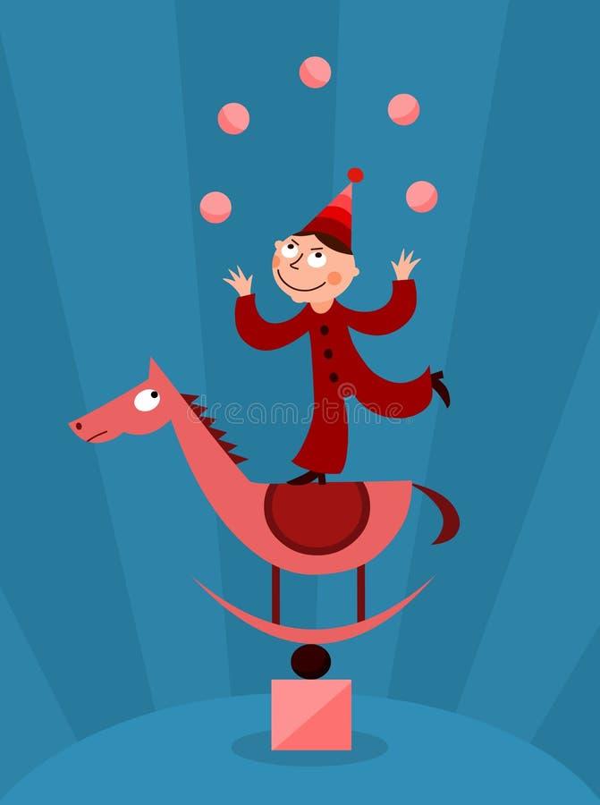 Acrobate jonglant avec des billes illustration de vecteur