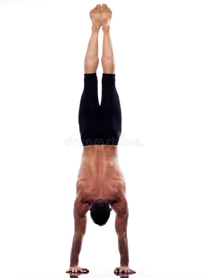 acrobatic full gymnastisk yoga för handstanslängdman arkivbilder