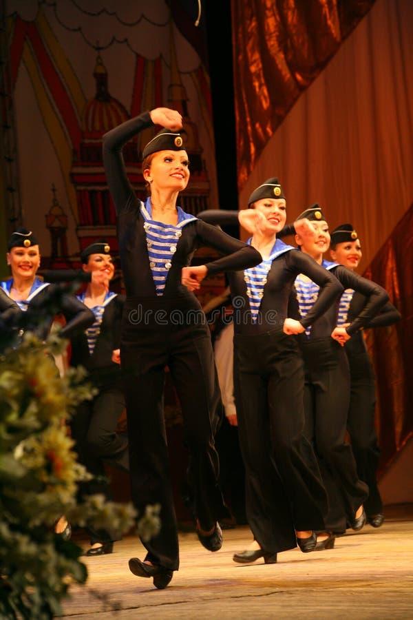 Acrobatic old traditional national Russian sailor dance Yablochko stock image