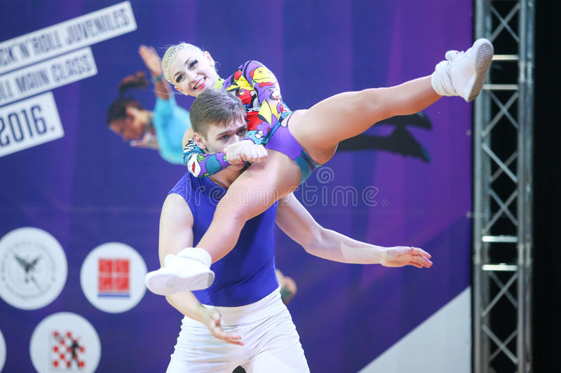 Acrobatic Rock N Roll, Zagreb. ZAGREB,CROATIA - JUNE 4,2016 : Semi finals of World Masters Rock n Roll Main Class in Zagreb, Croatia. Performance of dancing stock image