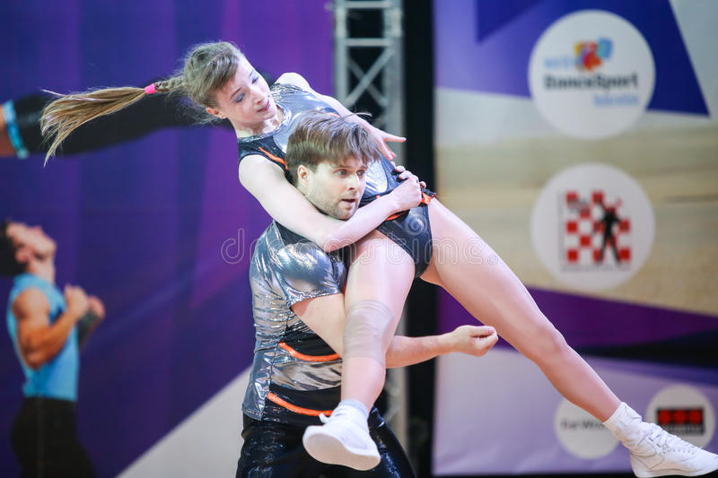 Acrobatic Rock N Roll, Zagreb. ZAGREB, CROATIA - JUNE 4, 2016 : Semi finals of World Masters Rock n Roll Main Class in Zagreb, Croatia. Performance of dancing stock photo
