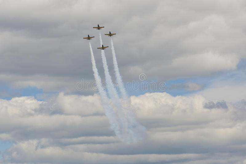 Acrobatic Stunt Planes of Aero L-159 ALCA on Air During Aviation Sport Event Dedicated to the 80th Anniversary of DOSAAF royalty free stock photos