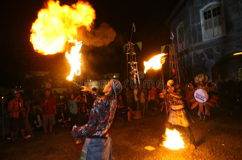 Acrobatics fire. Artists perform acrobatics fire when a cultural event in the city of Solo, Central Java. Indonesia stock photography