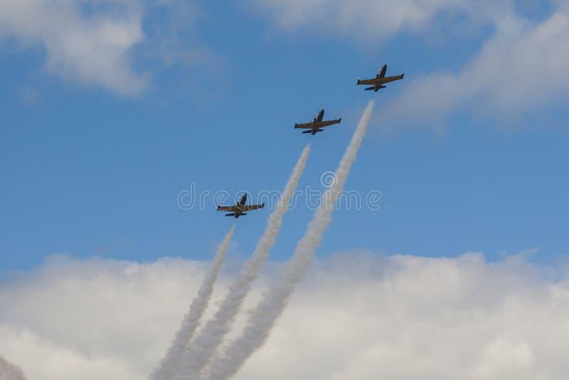 Acrobatische Stuntvliegtuigen RUS van Aero l-159 ALCA op Lucht tijdens Luchtvaartsportevenement Gewijd aan de 80ste Verjaardag va royalty-vrije stock afbeelding
