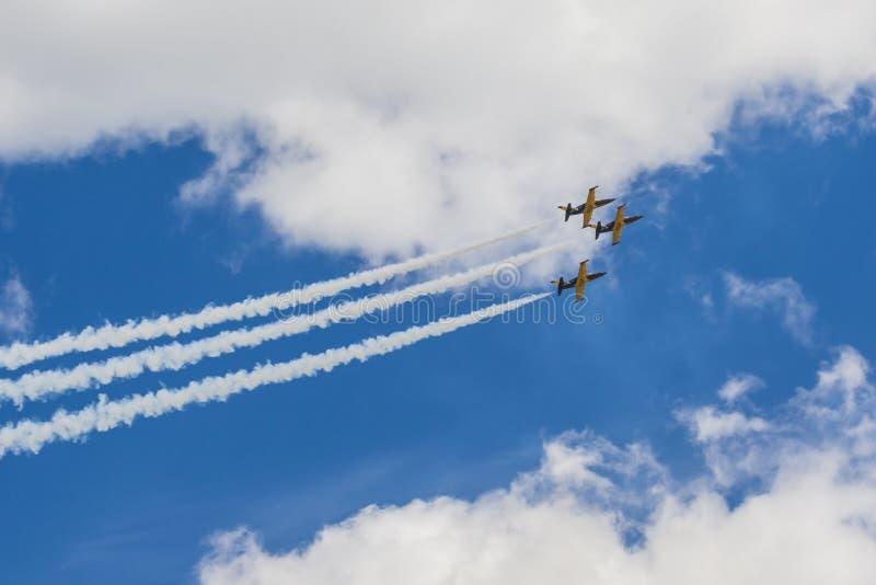 Acrobatische Stuntvliegtuigen RUS van Aero l-159 ALCA op Lucht tijdens Luchtvaartsportevenement Gewijd aan de 80ste Verjaardag va royalty-vrije stock fotografie