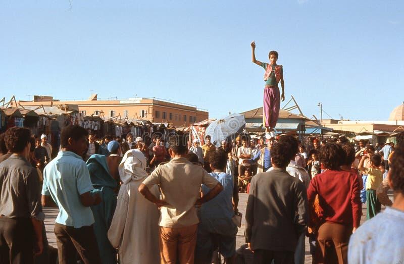 1974. Morocco. Acrobats in Marrakesh.