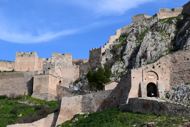 The Acrocorinth fortress, the acropolis of ancient Corinth. Acrocorinth Greek: Ακροκόρινθος, `Upper Corinth`, the acropolis royalty free stock photography