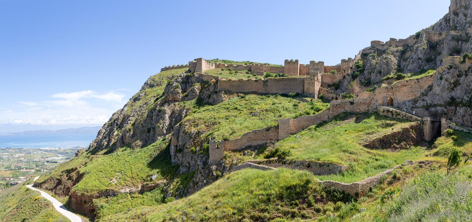Acrocorinth fortress, Peloponnese, Greece. Acrocorinth was the acropolis of Ancient Corinth, was further heavily fortified during the Byzantine Empire and royalty free stock images